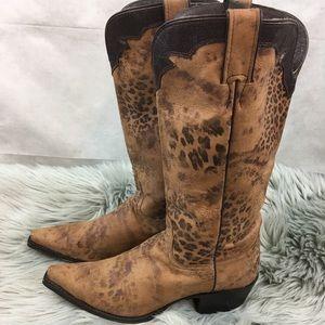 83e2d73cfb6 Nocona distressed Leopard Print Cowboy Boots